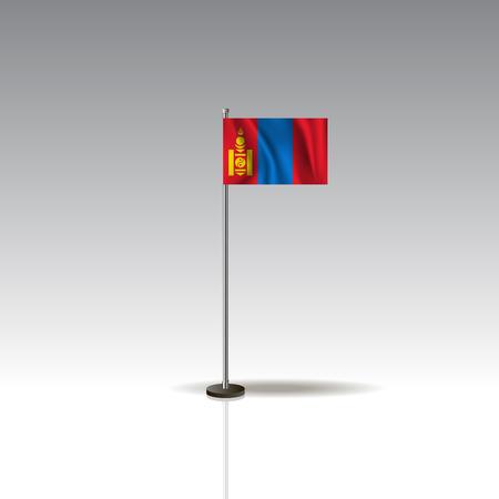 National MONGOLIA flag isolated on gray background.