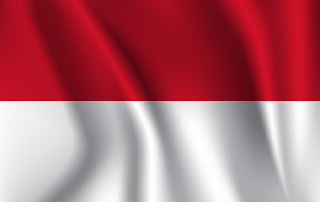 Indonesia waving flag isolated against white background, vector illustration