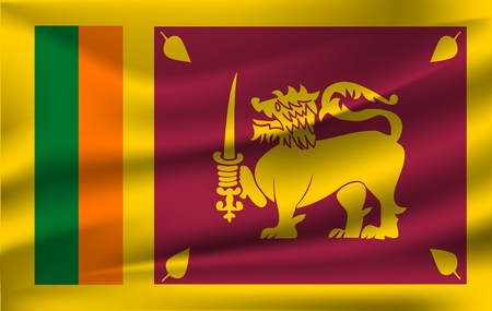 Flag of Sri Lanka waving  イラスト・ベクター素材