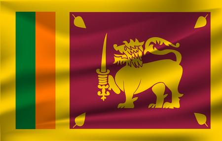 Flag of Sri Lanka waving Ilustrace