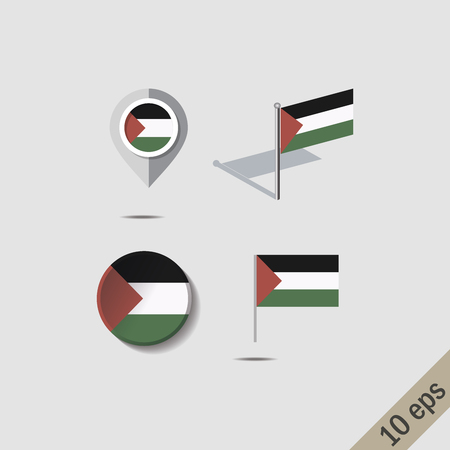 Map pins with flag of PALESTINE - vector illustration