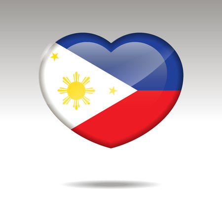 Love PHILIPINES symbol. Heart flag icon. Vector illustration. Illustration