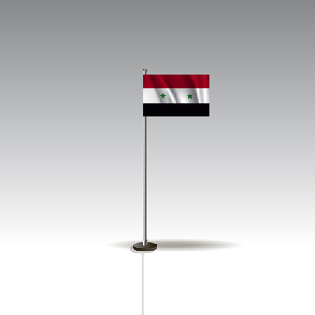 National SYRIA flag isolated on gray background. Vecteurs
