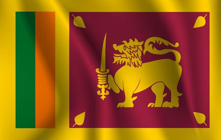 Flag of Sri Lanka waving Illusztráció