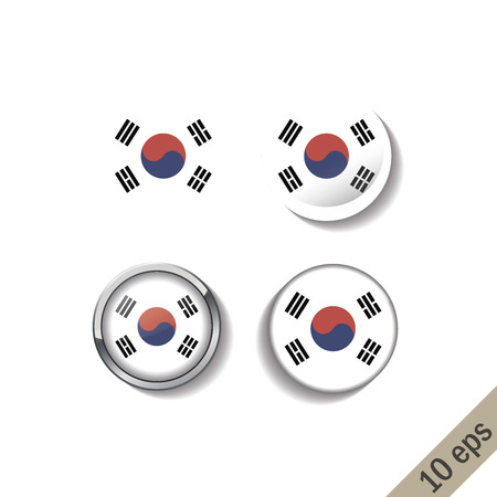 Set of SOUTH KOREA flags round badges.