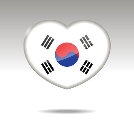 Love SOUTH KOREA symbol. Heart flag icon. Vector illustration. Illustration
