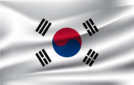 South Korea flag background with cloth texture. 스톡 콘텐츠
