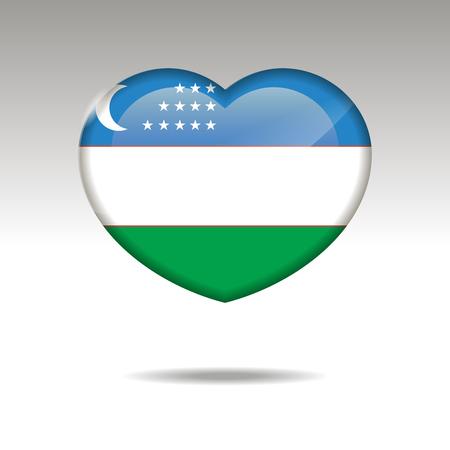 Love UZBEKISTAN symbol. Heart flag icon. Vector illustration.