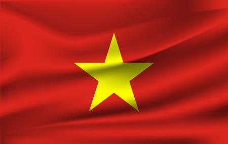 National flag of Vietnam - waving edition 向量圖像