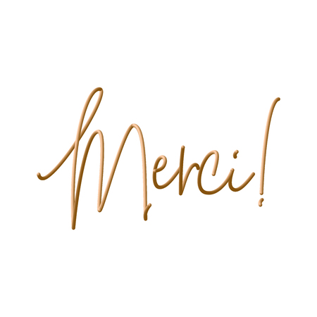 Merci vector illustration. Sticker for social media content, cards, invitations, posters Stock Photo
