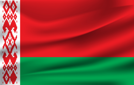 Flag of Belarus. Realistic waving flag of Republic of Belarus. Fabric textured flowing flag of Belarus.  イラスト・ベクター素材