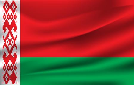 Flag of Belarus. Realistic waving flag of Republic of Belarus. Fabric textured flowing flag of Belarus. Illustration