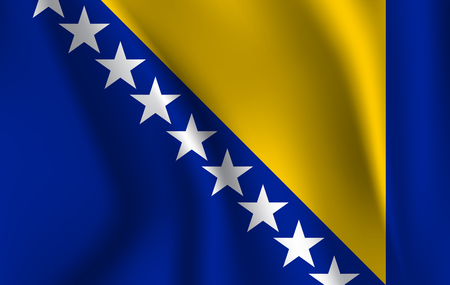 Realistic waving flag of the BOSNIA,Fabric textured flowing flag,vector EPS10