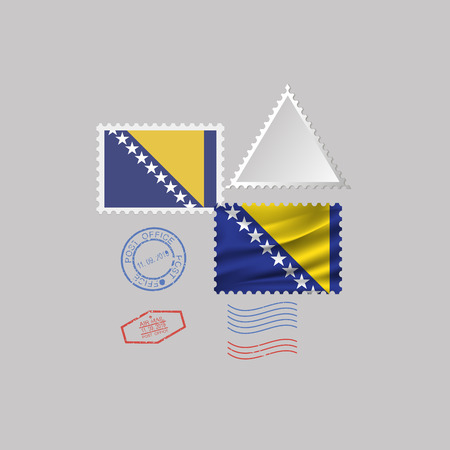 BOSNIA flag postage stamp set, isolated on gray background, vector illustration. 10 eps