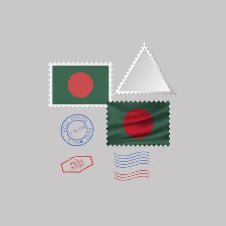 BANGLADESH flag postage stamp set, isolated on gray background, vector illustration.