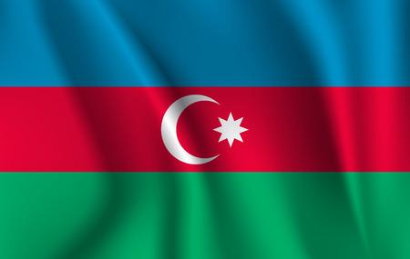 3D Waving Flag of Azerbaijan. 10 eps Illusztráció