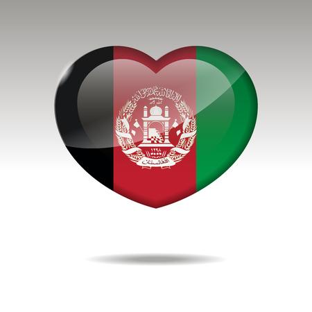 Love AFGANISTAN symbol. Heart flag icon. Vector illustration