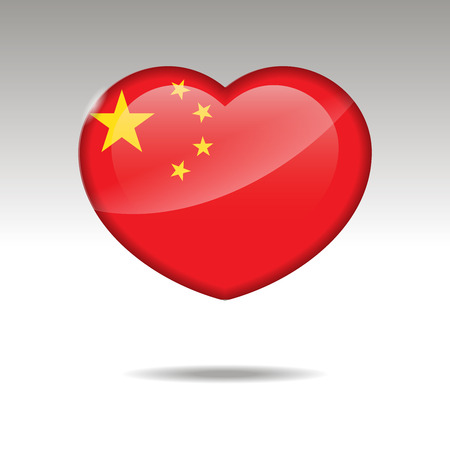 Love CHINA symbol. Heart flag icon. Vector illustration.