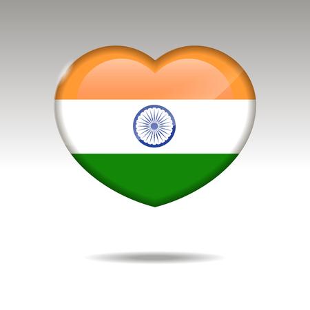 Love INDIA symbol. Heart flag icon. Vector illustration. Illustration