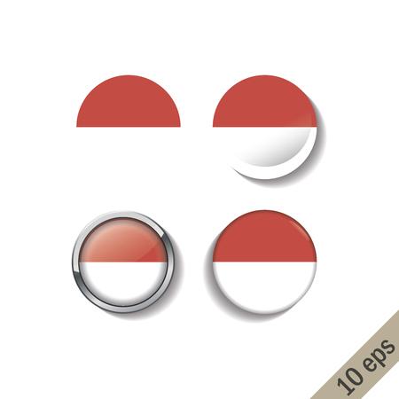 Set of INDONESIA flags round badges. Vector illustration. 10 eps Illustration