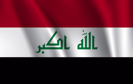 Flag of Iraq waving in the wind. Vector illustration. 10 eps