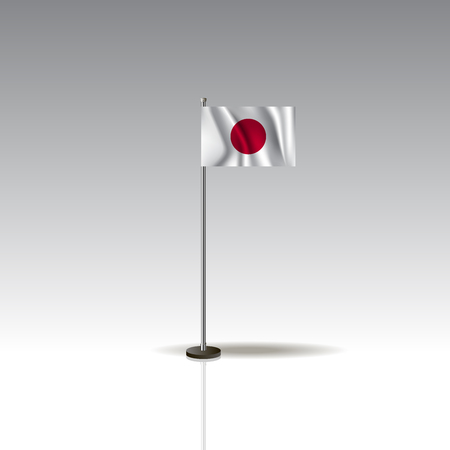 Flag Illustration of the country of JAPAN. National JAPAN flag isolated on gray background. JAPAN Flag Flat Web Mobile Icon. Vector.