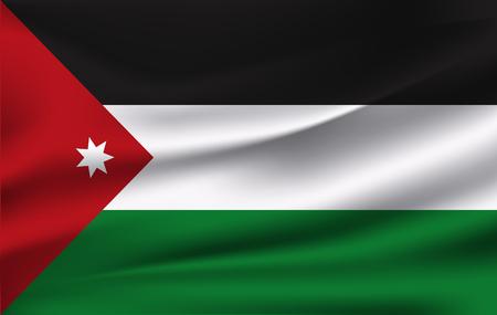 3D Waving Flag of Jordan. Vector illustration.