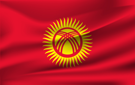 Realistic waving flag of Kyrgyzstan. Current national flag of Kyrgyz Republic. Illustration of lying wavy shaded flag of Kyrgyzstan country. Background with kyrgyz flag.  イラスト・ベクター素材