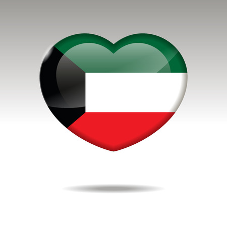 Love KUWAIT symbol. Heart flag icon. Vector illustration. Stock Photo