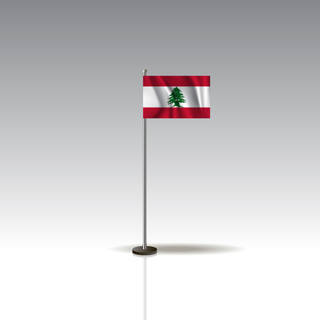 Flag Illustration of the country of LEBANON. National LEBANON flag isolated on gray background. LEBANON Flag Flat Web Mobile Icon. Vector.
