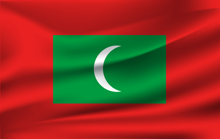 Flag of Maldives. Realistic waving flag of Republic of Maldives. Fabric textured flowing flag of Maldives.