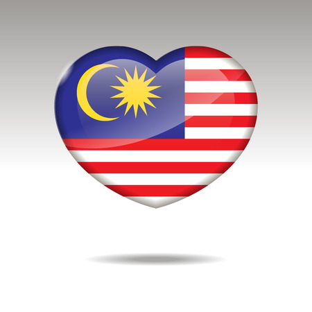 Love MALAYSIA symbol. Heart flag icon. Vector illustration.