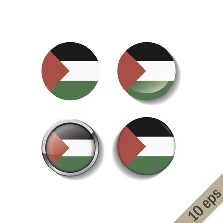 Set of PALESTINE flags round badges. Vector illustration. 10 eps