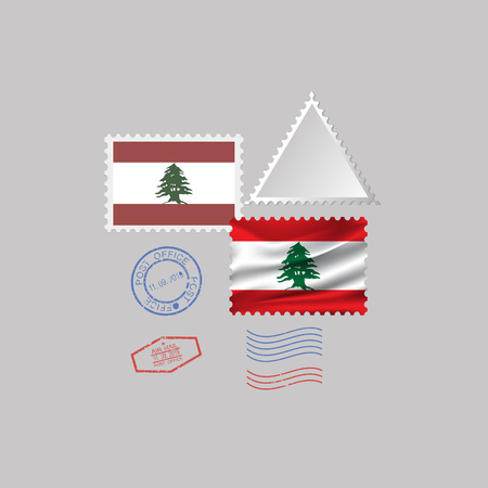 LEBANON flag postage stamp set, isolated on gray background, vector illustration. 10 eps