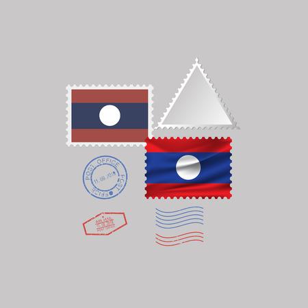 LAOS flag postage stamp set, isolated on gray background, vector illustration. 10 eps Çizim