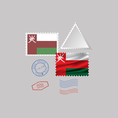 OMAN flag postage stamp set, isolated on gray background, vector illustration. 10 eps Ilustracja