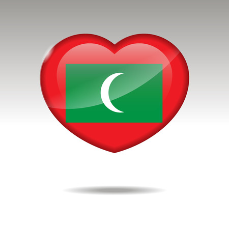 Love MALDIVES symbol. Heart flag icon. Vector illustration.