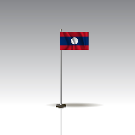 Flag Illustration of the country of LAOS. National LAOS flag isolated on gray background. LAOS Flag Flat Web Mobile Icon. Vector.
