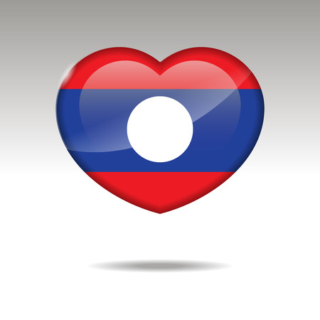 Love LAOS symbol. Heart flag icon. Vector illustration. 矢量图像