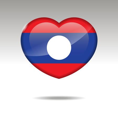 Love LAOS symbol. Heart flag icon. Vector illustration. Illustration