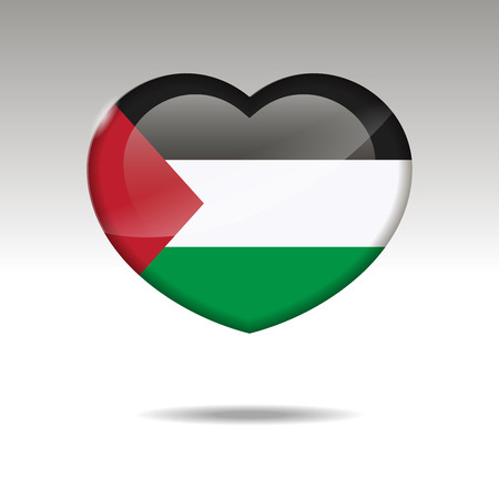 Love PALESTINE symbol. Heart flag icon. Vector illustration.