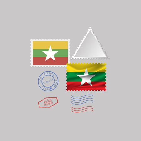 MYANMAR flag postage stamp set, isolated on gray background, vector illustration. 10 eps