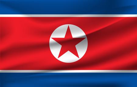 Flag of North Korea. Realistic waving flag of Democratic Peoples Republic of Korea. Fabric textured flowing flag of DPRK. Stock fotó