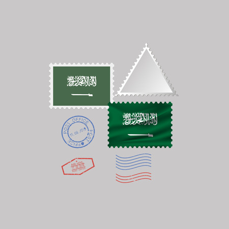 SAUDI ARABIA flag postage stamp set, isolated on gray background, vector illustration.