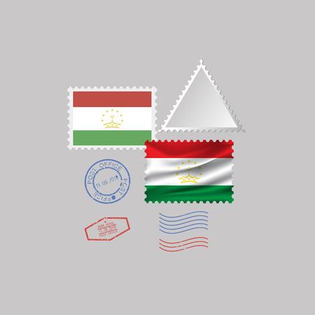 TAJIKISTAN flag postage stamp set, isolated on gray background, vector illustration. 10 eps