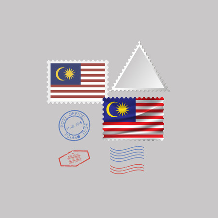 MALAYSIA flag postage stamp set, isolated on gray background, vector illustration. 10 eps