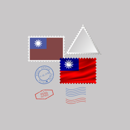 Taiwan flag postage stamp set, isolated on gray background, vector illustration.