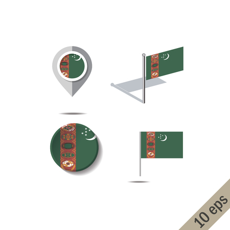 Map pins with flag of TURKMENISTAN - vector illustration