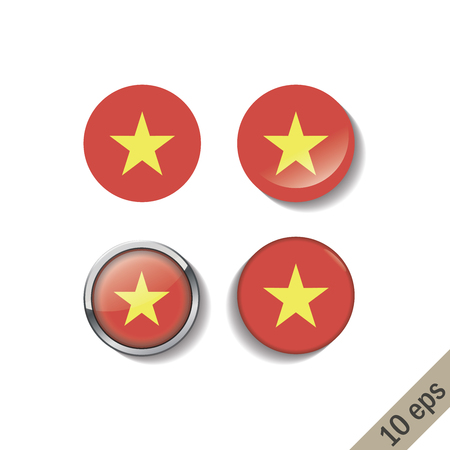 Set of VIETNAM flags round badges. Vector illustration. 10 eps