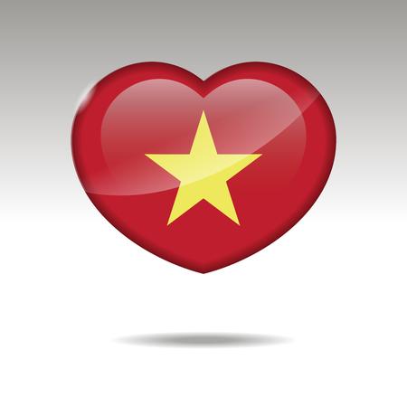 Love VIETNAM symbol. Heart flag icon. Vector illustration.